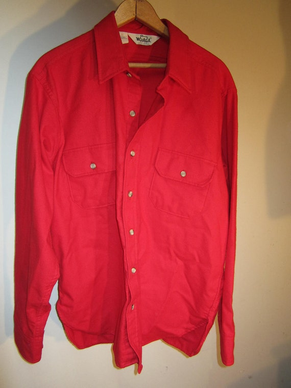 Mens xl vintage woolrich red flannel shirt hunting fishing for Mens xl flannel shirts