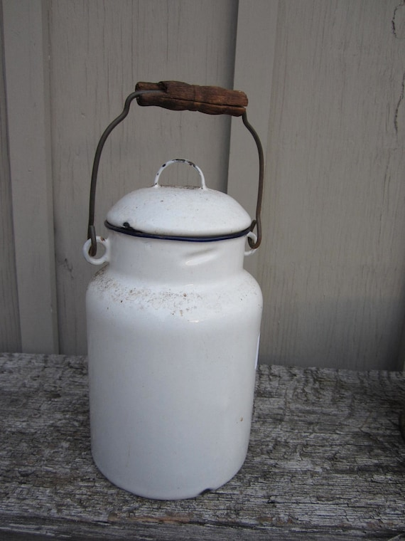 Vintage very old White Enamel enamelware Milk Can bucket with lid and handle