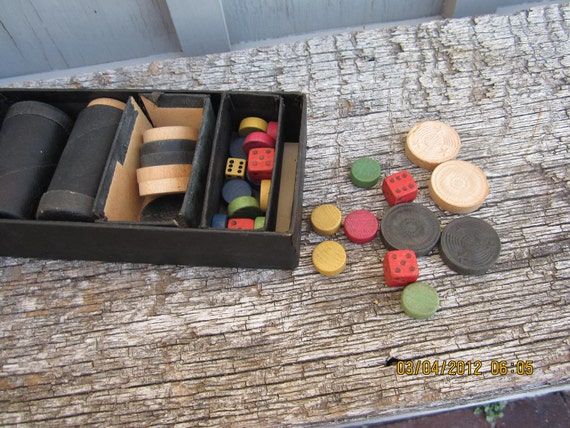Vintage wood game Parcheesi  pieces box checkers dice rounds