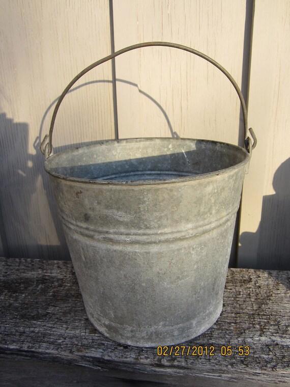 Vintage Galvanized metal bucket laundry bathroom storage Shabby Cottage Chic