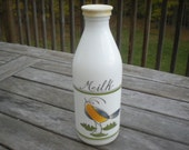 Egiza Opaque Milk Bottle with Painted Blue Bird - reserved