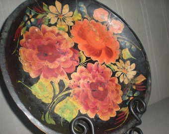 Floral Painted Wooden Bowl Tray