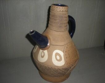 Vintage Modern Studio Art Pottery Signed Johnston.  Tea Pot, Water Can, Jug, Pitcher