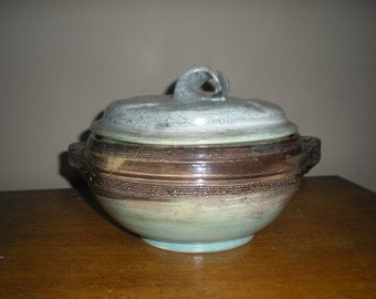 Art pottery Bowl with Lid and Handles