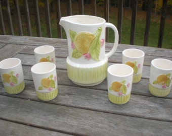 Lemonade Tea Pitcher and 6 Cup set - Made in Japan