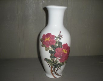 Hand Painted Asian White Vase with Mauve Flowers