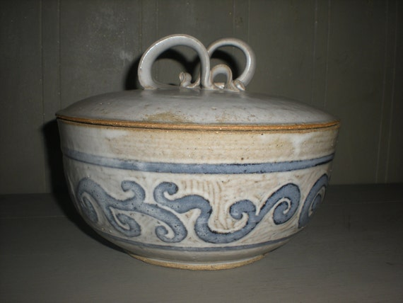 Blue and White Signed and Dated Pottery Dish