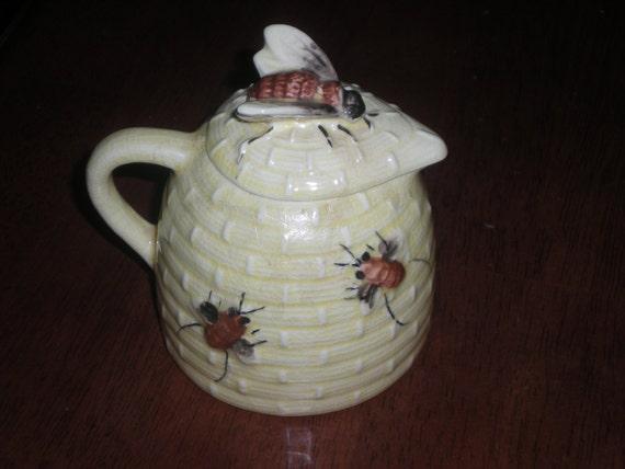 Yellow Beehive Honey Pot with Lid