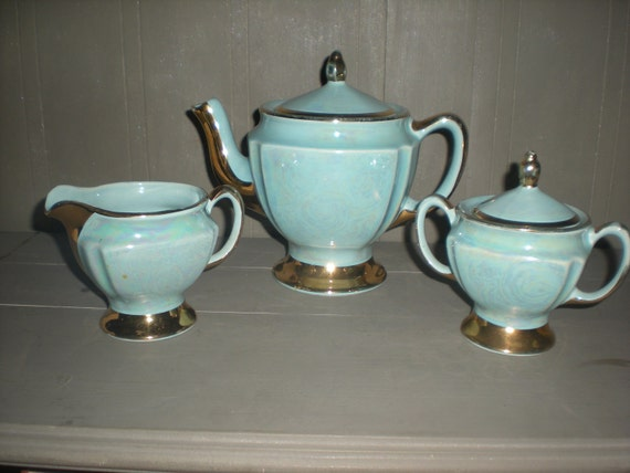 Aqua Blue Lustre China Gold Tea Pot with Creamer and Sugar
