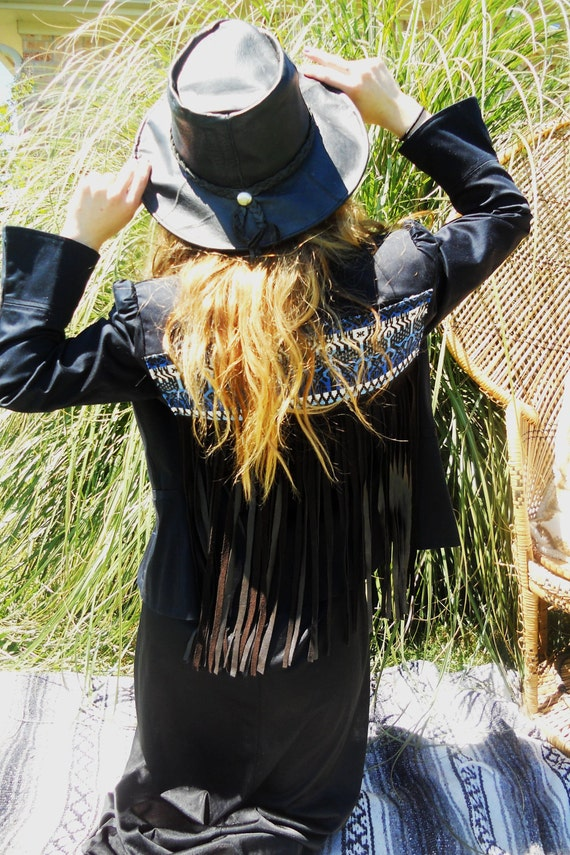 Black blazer with blue aztec fabric on back and brown lambskin leather fringe and bell sleeves size small/medium