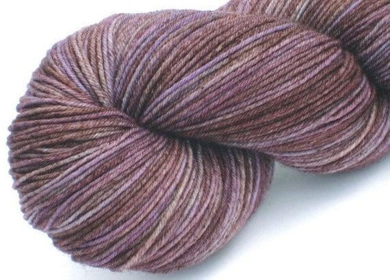 Sock yarn Wood Violet 75/25 superwash Falkland merino / nylon semi solid hand dyed sock / fingering weight yarn