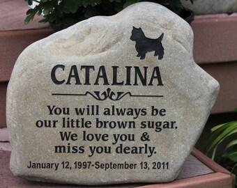 Hand Engraved Rock - Custom Pet Memorial