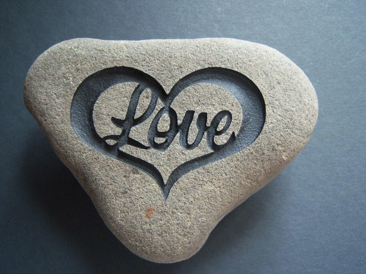 Hand Carved Rock Shaped Like A Heart