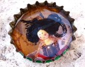 geisha brooch- bottle cap brooch- multicolored  photo- Recylced jewelry- FREE SHIPPING- eco brooch- recycled Heineken cap- beer cap jewelry