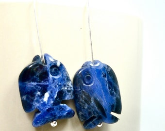 lapis fish earrings on sterling silver ball pin wires,a splash of fantasy