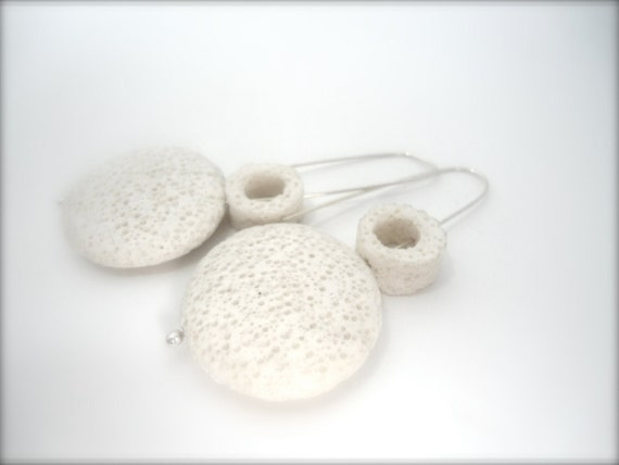 white geometric lava earrings jewelry with sterling silver ball wires,eco minded natural jewelry