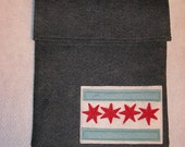 Special listing for Rob - Charcoal Gray Wool Felt Computer Sleeve with Chicago Flag