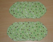Cotton Rounds 12 Green with Polka Dots Makeup Squares Washable Reusable