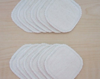 Cotton Rounds 12 Natural Unbleached Makeup Squares Washable Reusable