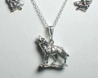Sterling Silver Howling Wolf  Necklace and Earrings Set