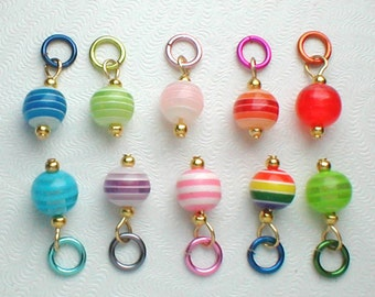 Nail Dangle - 10 Striped Beads