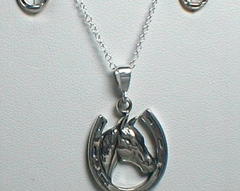 Necklace and Earring Set - Sterling Silver Horse in Horseshoe
