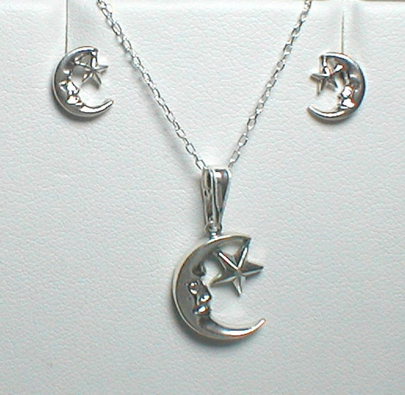 Necklace and Earring Set - Sterling silver Moon and Star