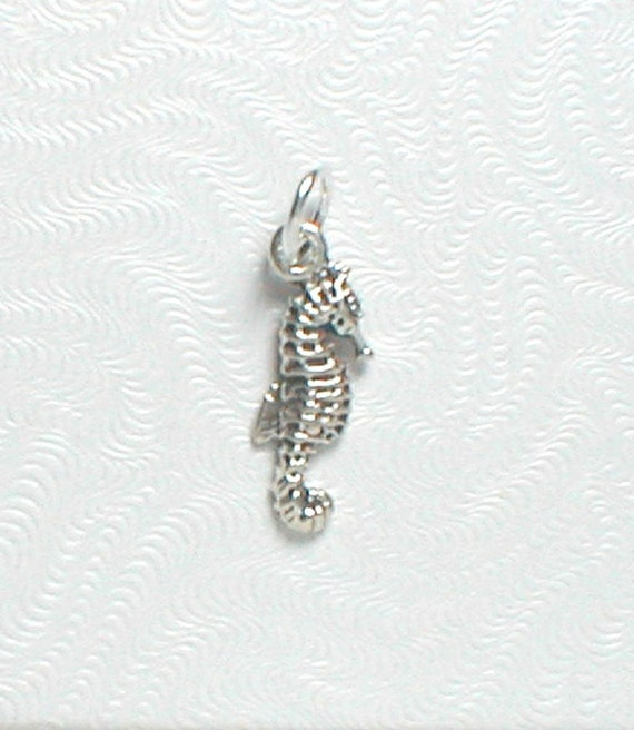 Nail Dangle or Charm - Sterling Silver Seahorse