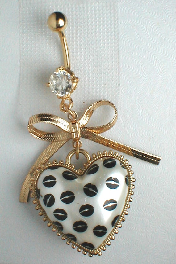 """Unique Belly Ring - Heart """"LOVE"""" Pendant On A Belly Ring"""