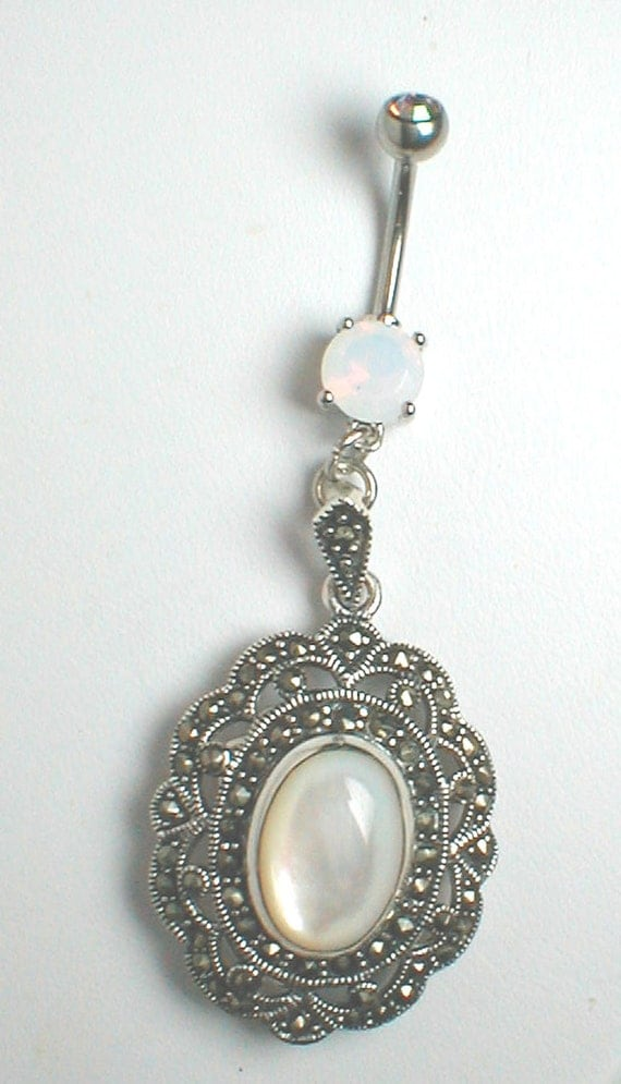 unique belly ring of pearl sterling by pondgazer2004