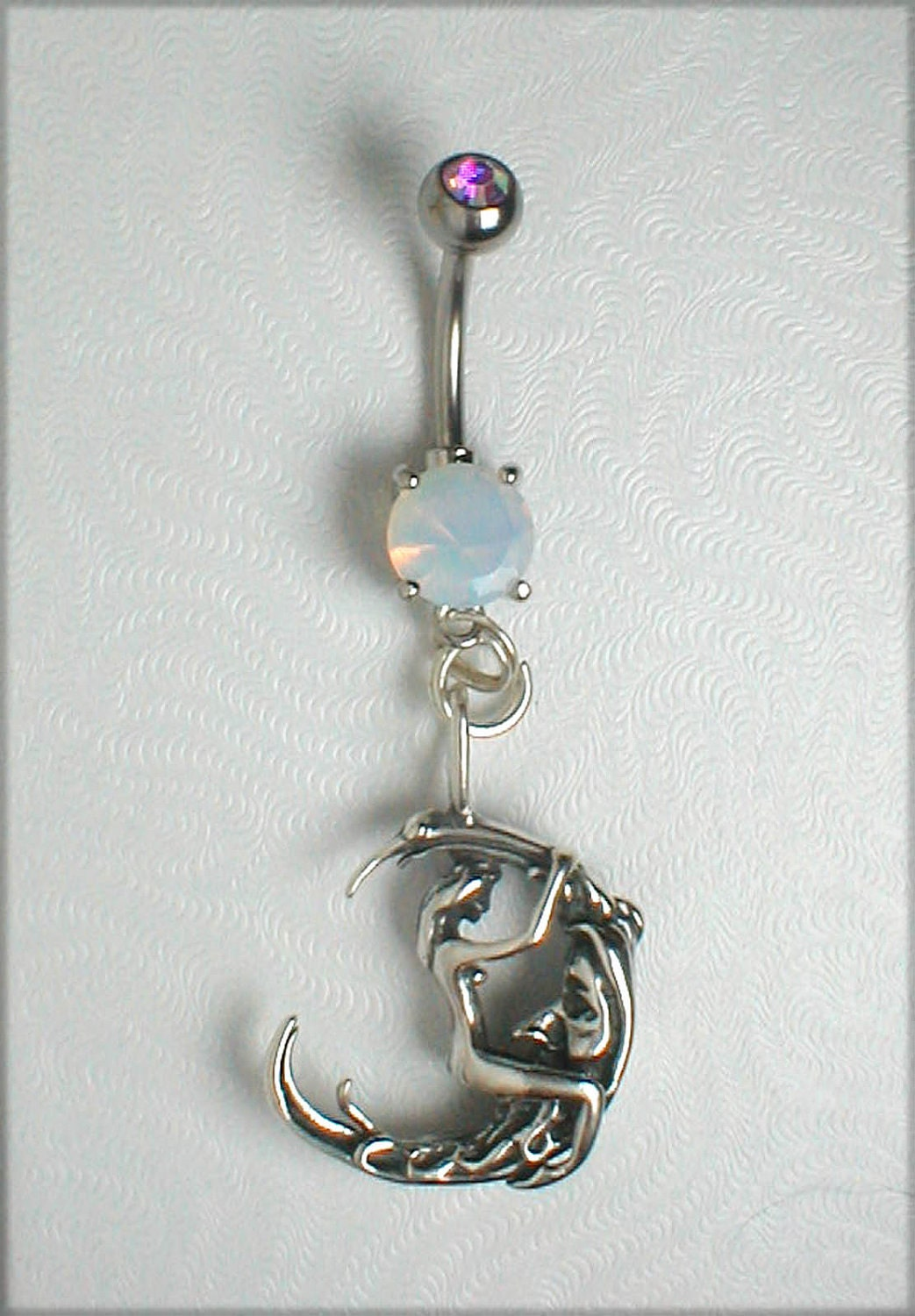 unique navel belly ring sterling silver moon by pondgazer2004