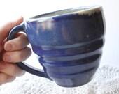 Swirled Mug in Cobalt Blue with Yellow Interior