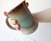 Mug in Shades of Gray, Mulberry, Blue, Yellow,  Red, and Brown, with Toasty White Interior