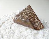 Card Holder in Shiny Orange, Textured with Vintage Lace, Easel Shape