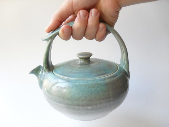 Teapot 18 in Pale Gray and Turquoise with 12-Ounce Capacity