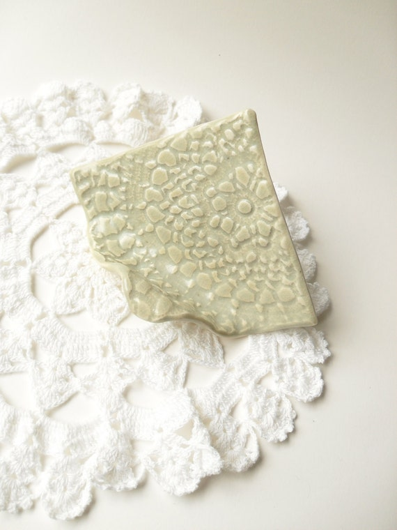 Card Holder in Light Spring Green, Textured with Vintage Lace, Easel Shape