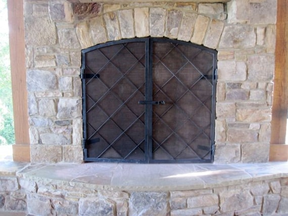 Items Similar To Custom Made Hand Forged Steel Fireplace Screens On Etsy