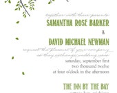 Love Owl tree invitation wedding green grey