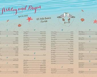 Beach wedding Seating Chart with Seagulls & Seashells Aqua Names written in sand 24 hour turnaround