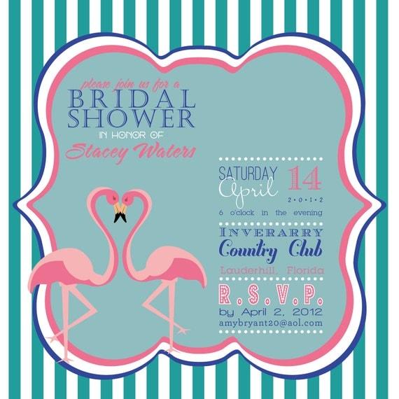 Adorable Flamingo wedding or bridal shower invitation teal pink blue or coral