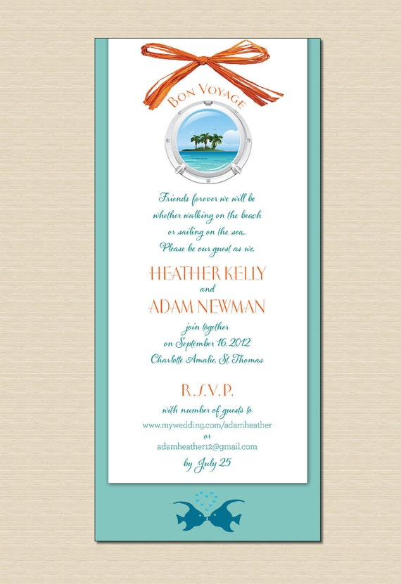 cruise wedding invitations items similar to cruise ship wedding invitation porthole 3201