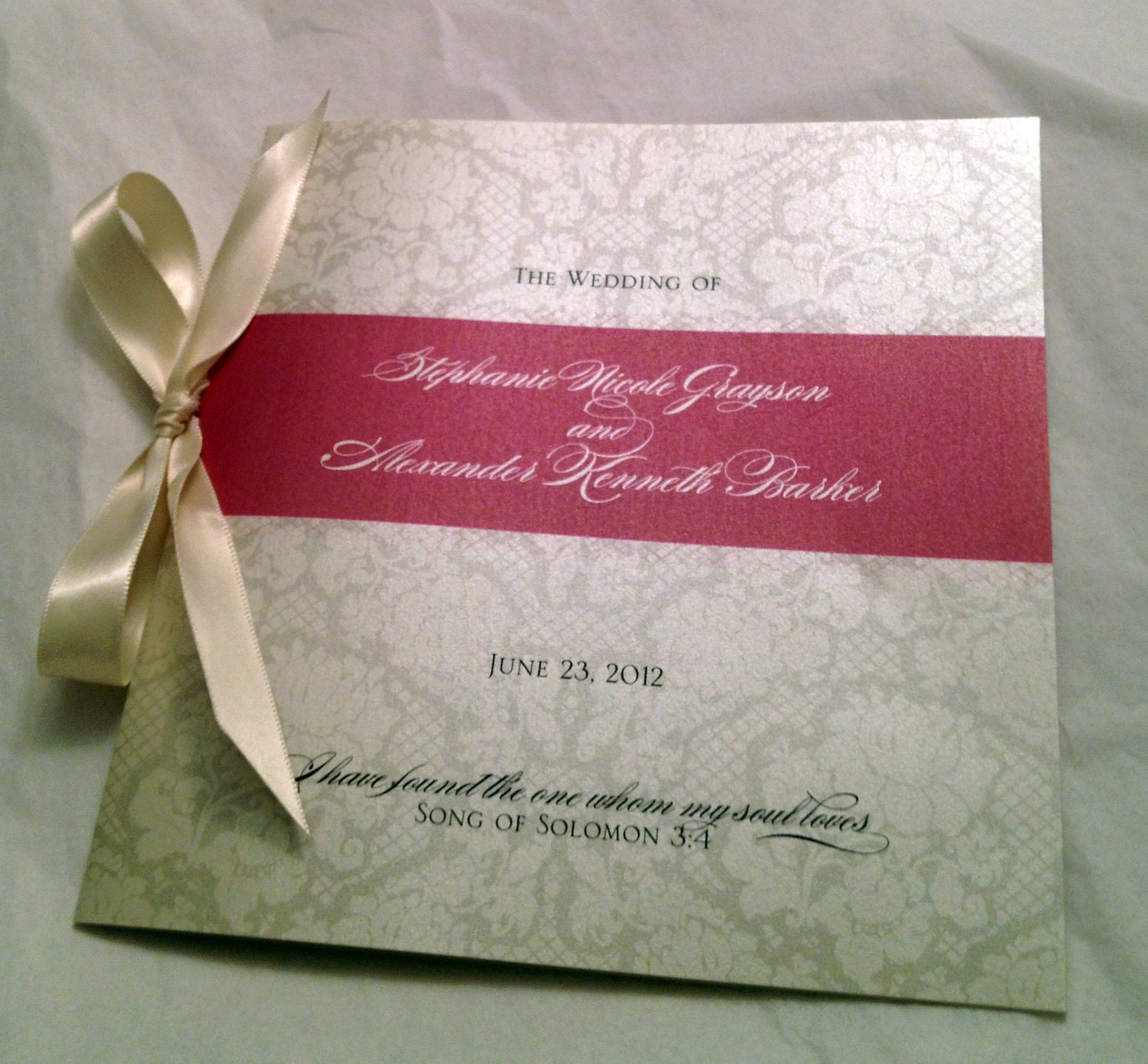 Vintage Lace Wedding Program Ribbon Tied Dusty Rose Or By