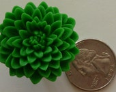 Kelly Green chrysanthemum large flower resin ring