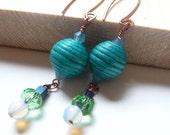 Turquoise Wood Earrings on Copper Handmade Findings