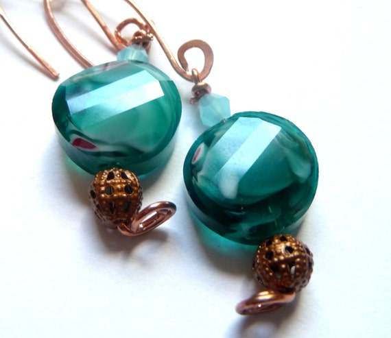 Teal and White Swirl Glass Dangle Earrings, Handmade Copper Ear Wires