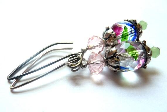 Pastel Glass Earrings, Silver Filled Artisan Ear Finding, Multicolor Glass Beads