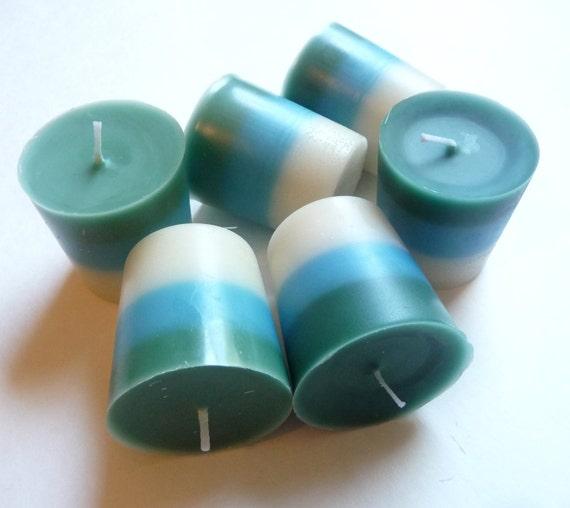 Set of 6 Forsaken Gardenia Layered Votive Candles