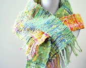 Green Pink Golden Heaven - Alvantine Scarf - Hand woven scarf with fringe - HOLIDAY SALE