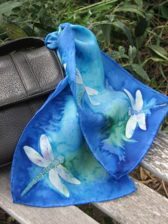 mother's day gift dragonfly dragonflies silk purse scarf scarflette hand painted silk dragonfly scarf dragonfly fashion accessory