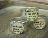 Dictionary Adjustable Silver Ring